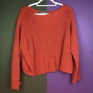 Orange French connection sweater with boat neck